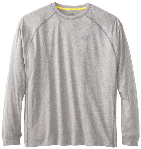 Caterpillar Men's Performance Long Sleeve T-Shirt (Regular and Big & Tall Sizes), Heather Grey, Large from Caterpillar