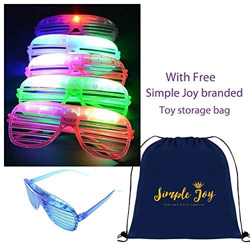 Simple Joy 24 Pack Sunglasses Glasses LED Flashing Futuristic Glowing Shades Rave Party