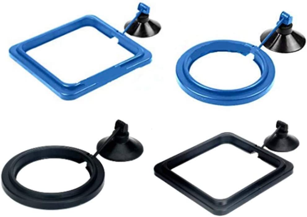 Powerer 4 Pcs Fish Feeding Ring Square and Round Aquarium Fish Feeding Ring Floating Food Feeder, with Suction Cup
