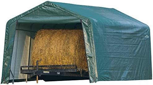 ShelterLogic 12 x 20 x 8-Feet Peak Style Hay Storage Shelter, Green Cover