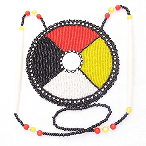 (La vivia Handmade Bead Work Fashion Jewelry Multi Color Circle Design Seed Beaded Long Medallion Necklace N-6-SB-1493 )