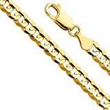 14k Yellow Gold Solid Men's 12mm Cuban Concave Curb Chain Bracelet with Lobster Claw Clasp - 8.5''