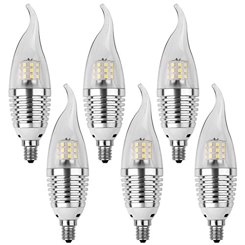 Bulb,60W Equivalent-Base E12-7W-Daylight White 6000K,LED Candle Bulbs(6 Pack) ()