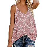 TnaIolral Women Tops Sling V Neck Sleeveless Strap Print Down Front Summer Loose Shirts Pink