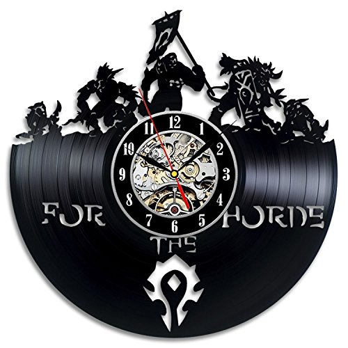 (World of Warcraft Art Vinyl Record Wall Clock Modern Home Decor Vintage Interior Design Decoration-Gift Idea for Men Mom Boy Friend Christmas and)
