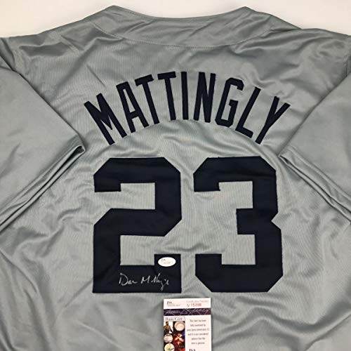 Yankee Framed Mini - Autographed/Signed Don Mattingly New York Grey Baseball Jersey JSA COA
