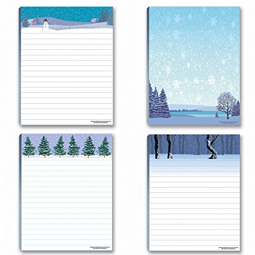 Winter Theme Notepads - 4 Assorted Note Pads - Winter Scene