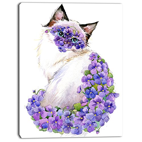 Cute Cat with Blue Flowersanimal Artwork on Canvas