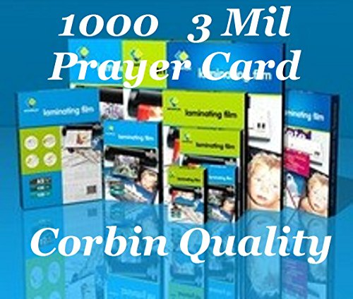 Prayer Card Qty 1000 3 Mil Hot Thermal Laminating Laminator Pouches Sheets 2.75 x 4.5 Ultra Clear. & Free Carrier Sleeve's. See Photos for Product Quality & Clarity by CORBIN QUALITY