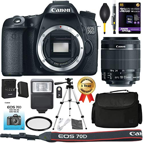"Canon Eos 70D Camera: With Ef-S 18-55Mm F/3.5-5.6 Is Stm Lens + 32Gb Sdxc 1200X Card, 50"" Tripod, Digital Gadget Bag, Lens Pen, Dust Blower, Lp-E6, Lc-E6 + Aom Bundle Kit - International Version"