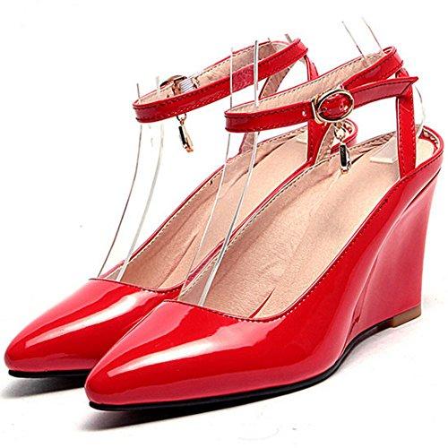 FANIMILA Mujer Moda Tacon de Cuna Sandalias Correa de Tobillo Cerrado Zapatos for Boda Fiesta Rojo
