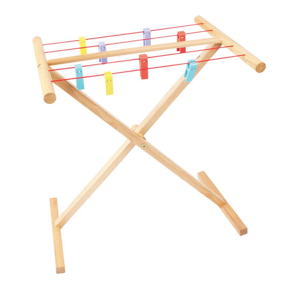 Bigjigs Toys Wooden Clothes Airer Play Set - Pretend Roleplay
