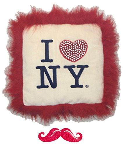 Nyc Throw Pillow (I Love New York NYC Novelty Fluffy Furry Throw Pillow with Bling Heart 18 x 18 Unique Cool Stocking Stuffer Christmas Gift Idea Teen Girl Woman Her)