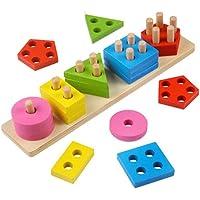 Jiada Wooden Geometric Shape Matching 5 Column Blocks Montessori Educational and Learning Toys
