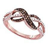 Sonia Jewels Size 9-14k Rose Gold Round Chocolate Brown Diamond Infinity Ring (1/3 Cttw)