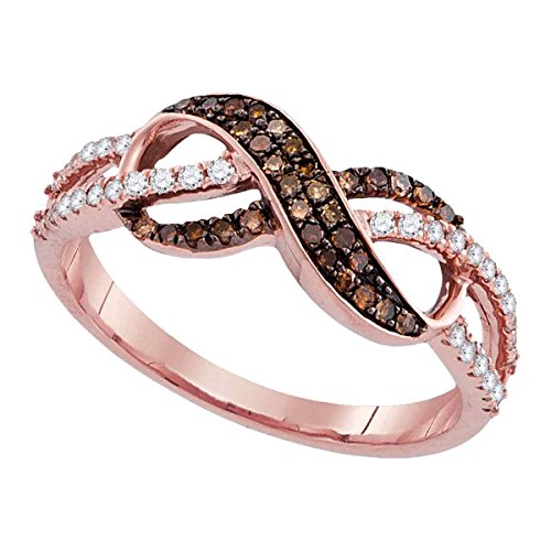 Sonia Jewels Size 8-14k Rose Gold Round Chocolate Brown Diamond Infinity Ring (1/3 Cttw)