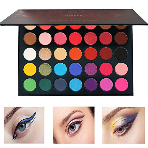 Halloween Eyeshadow Makeup Tutorial (Beauty Glazed Pressed Powder 35 Colors Shimmer Matte Eyeshadow Palette Color Studio Eye Makeup High Pigment Natural Colors Makeup Palette Eye)