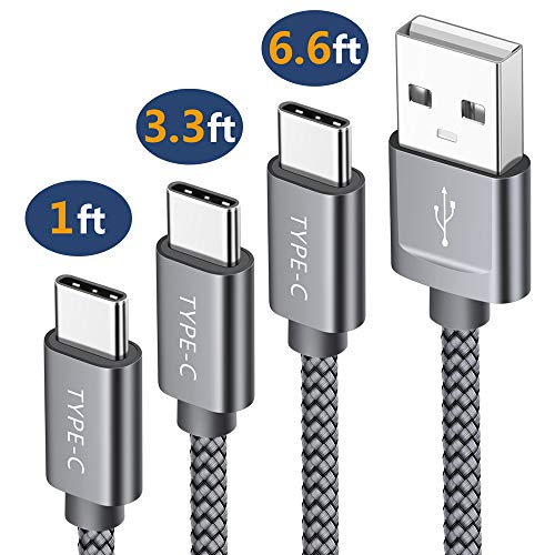 USB Type C Cable,JSAUX 3-Pack(1ft+3.3ft+6.6ft) USB-C to USB A 2.0 Fast Charger Nylon Braided Cord Compatible Samsung Galaxy S9 S8 Plus Note 9 8,Google Pixel XL,Moto Z Z2,LG V20 G6 G5 Nintendo(Grey)