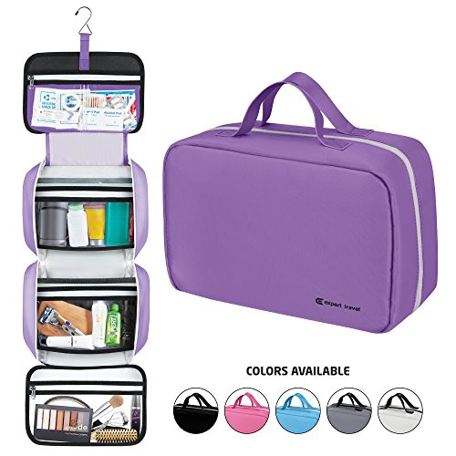 "(Hanging Travel Toiletry Bag for Men and Women | Makeup Bag | Cosmetic Bag | Bathroom and Shower Organizer Kit | Leak Proof | Large (34""x11""))"