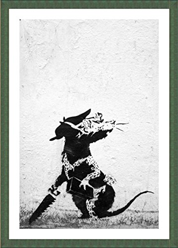 """Alonline Art - Rat With Dollar Eyes And Jigsaw Banksy Green FRAMED POSTER (Print on 100% Cotton CANVAS on foam board) - READY TO HANG 
