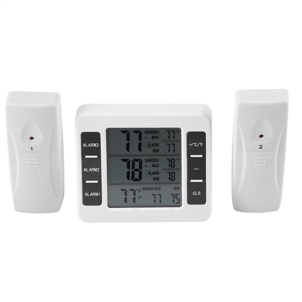 Fdit Refrigerator Wireless Digital Audible Alarm Thermometer With 2Pcs Sensor Min/Max Display