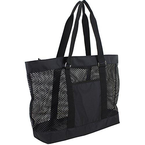 Eastsport Mesh Tote Beach Bag, Black