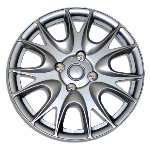 TuningPros WSC-533S15 Hubcaps Wheel Skin Cover 15-Inches Silver Set of 4 (1991 Nissan 240sx Wheel)