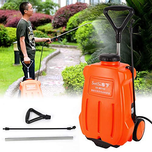 Wanlecy 16L Portable Backpack Sprayer with Wheels Battery Powered, 12V Rechargeable Trolley Sprayer for Farm Garden Lawn Fertilizing Watering Weed Killing