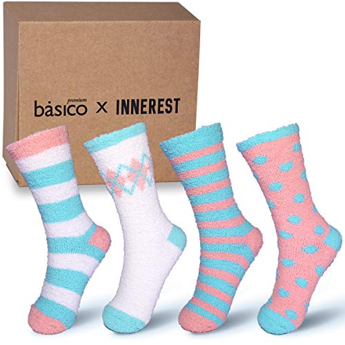 Basico -Valentine's Day Gift - Soft Warm Microfiber Fuzzy Winter Socks Crew 6 Pairs (#3 Gift Box: 4 pairs) for $<!--$9.99-->