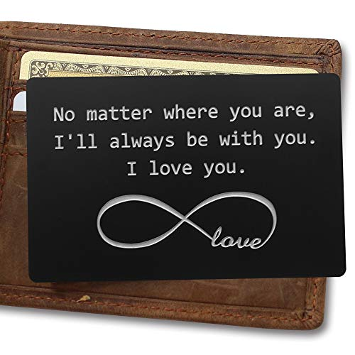Engraved Aluminum Wallet Love Note Insert, Metal Wallet Card Insert, Mini Love Note, Deployment Gift for Him, Anniversary Gift, Boyfriend Gift, Husband Gift
