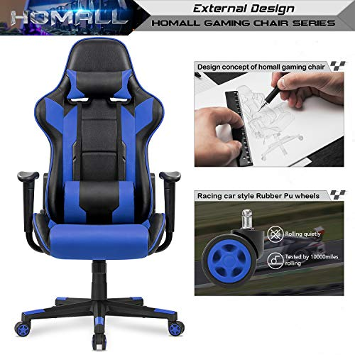 Homall Gaming Office Chair Computer Desk Chair Racing Style High Back PU Leather Chair Executive and Ergonomic Style Swivel Chair with Headrest and Lumbar Support (Blue)