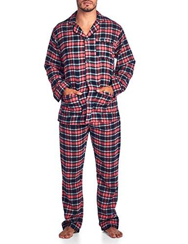 (Ashford & Brooks Mens Flannel Plaid Pajamas Long Pj Set - Red Black - Large)