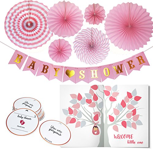 Baby Shower Decorations for Girl - Set Includes Baby Shower Bunting Banner, 6 pcs Paper Flower Fans, 25 pieces Personalized Favor Thank You Tags, Guest Wishes Card - Pink/White/Gold Color Decor Theme