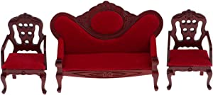 EatingBiting 1:12 Dollhouse Miniature Living Room Furniture Sofa Armchair Couch Table 3pcs