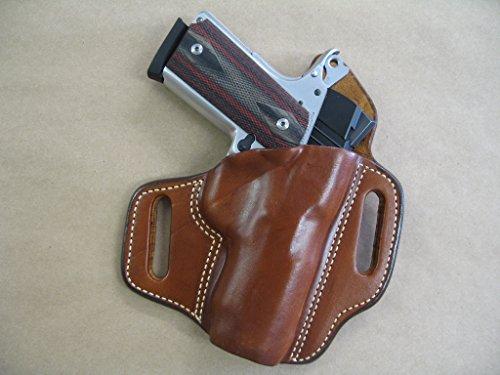 Colt Defender Compact 1911 OWB Leather 2 Slot Molded Pancake Belt Holster CCW TAN RH