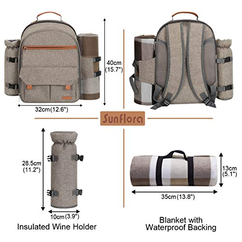 Sunflora Picnic Backpack for 4 Person Set Pack with Insulated Waterproof Pouch for Family Outdoor Camping (Brush Beige)