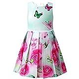 Jxstar Summer Little Girls Flower Dress Prom Rose Print Party Sundress Swing