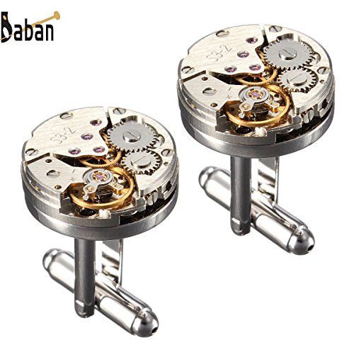 (Upgraded Version)BABAN Deluxe Steampunk Watch Mens Vintage Watch Movement Shape Cufflinks With Elegant Storage Display Box