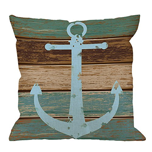 Anchor Pillow Case Decor by HGOD DESIGNS Nautical Anchor Cotton Linen Square Cushion Cover Standard Pillowcase for Men Women Kids Home Decorative Sofa Armchair Bedroom Livingroom 18 x 18 inch (Nautical Designs)
