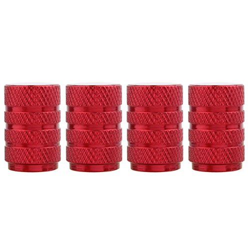TOMALL Round Style Tire Valve Stem Caps Red for Vehicle Motorcycles Wheel Dust Caps ()
