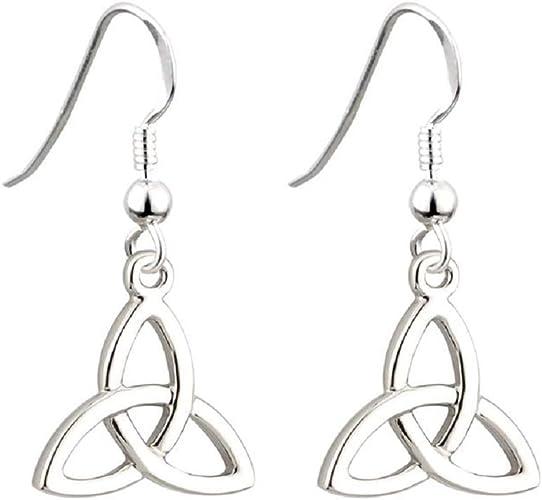 Sapphire Celtic Trinity Earrings Drop Sterling Silver 925 Hallmarked Drops