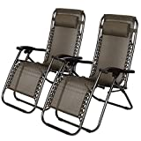 Idealchoiceproduct 2-Pack Zero Gravity Outdoor Lounge Chairs Black Patio Adjustable Folding Reclining Chairs with Removable Pillow (Black Checkered)