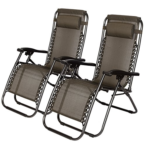 Idealchoiceproduct 2-Pack Zero Gravity Outdoor Lounge Chairs Black Patio Adjustable Folding Reclining Chairs with Removable Pillow (Black Checkered) (Spine Removable)