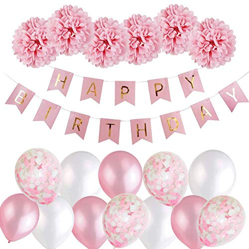 Birthday Decorations for Girls, Pink Happy Birthday Party