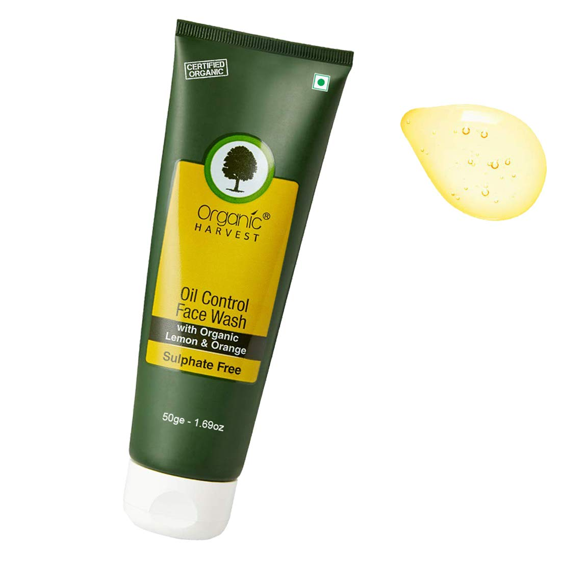 [Min 2 qty] Organic Harvest Face Wash For Oil Control, ECOCERT & PeTA Certified, Paraben & Sulphate Free -50ml