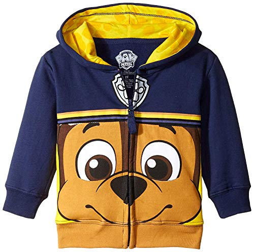 Nickelodeon Toddler Boys' Paw Patrol Character Big Face Zip-Up Hoodies, Chase Navy, 4T