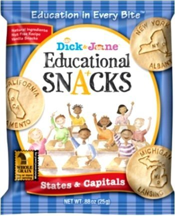 Dick and Jane Educational Snacks - States & Capitals (features all 50 States...New York to California...Alabama to Wyoming) 120 Lunch Size Bags]()