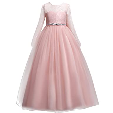 187d66564d Girls Flower Lace Ball Gown Party Fall Dress for Kids Princess Pageant  Tulle Long Sleeve Prom