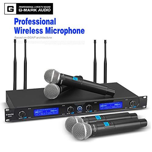 [해외]G-MARK G440 무선 마이크 시스템 전문가 4 채널 UHF 다이나믹 프로 4 휴대용 마이크 노래방 파티 스테이지 / G-MARK G440 Wireless Microphone System Professional 4 Channel UHF Dynamic Pro 4 Handheld Microphone Karaoke Party Stage