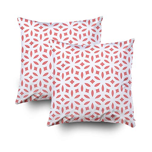ROOLAYS Decorative Throw Square Pillow Case Cover 18X18Inch,Cotton Cushion Covers Abstract geometric pattern Repeating Pink Both Sides Printing Invisible Zipper Home Sofa Decor Sets 2 PCS Pillowcase